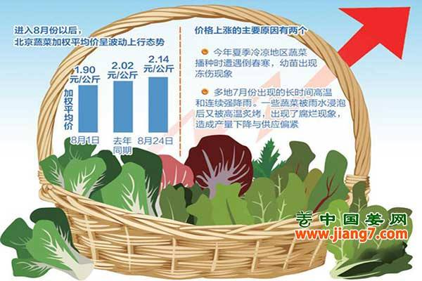 北京菜价短期维稳,秋后或上涨 ()